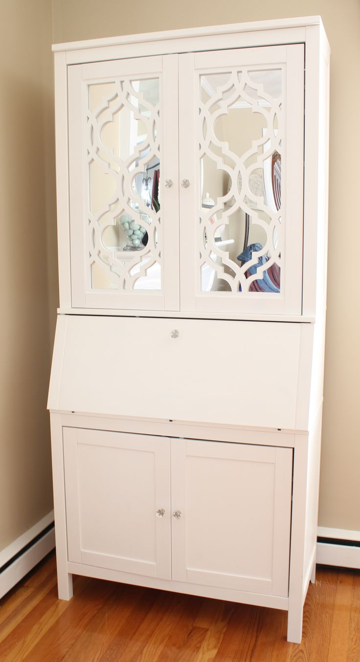 Mirrored secretary desk created from an IKEA Hemnes desk with the help of O'verlay decorative fretwork