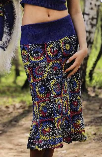 Crochet skirt: granny squares, strong colours. Pattern included.