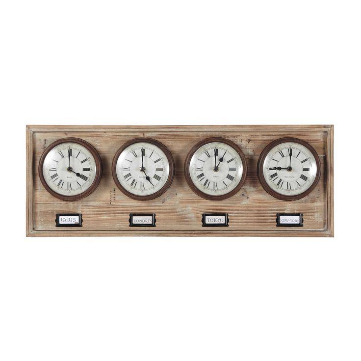 17 meilleures id es propos de horloge en bois sur for Horloge murale 3 cadrans