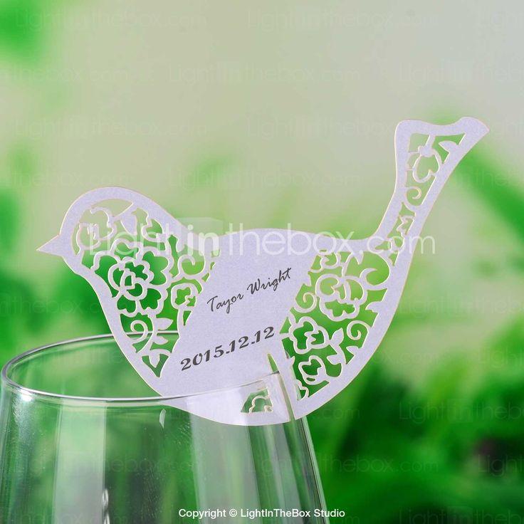 Laser Cut oiseaux en forme de carte de place pour verre de vin - Ensemble de 12 - EUR € 3.63