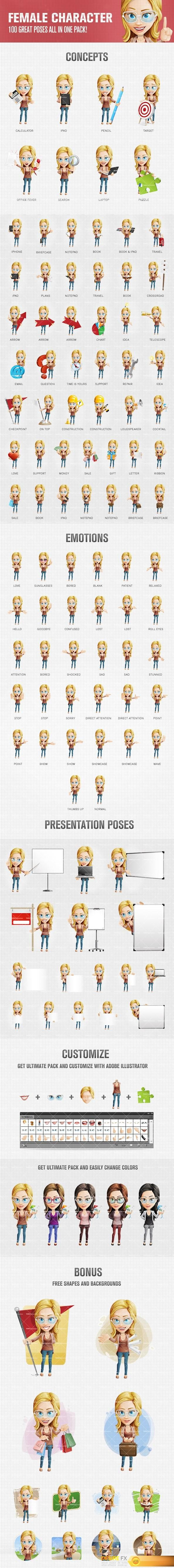 Female cartoon character that looks happy and excited. We have made a set of 100 poses that would fit perfectly to your creative projects.  #Ai #EPS #PSD #Vectors #3D #Toons #Character #Tooncharacters #Designs  http://www.desirefx.me/female-cartoon-character-with-glasses/