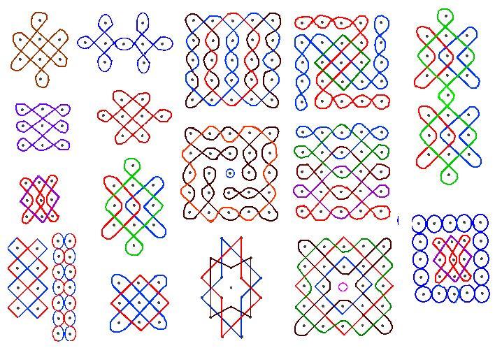 Pulli kolam o Suzhi kolam. Estos patrones de colores permiten entenderlos mejor.