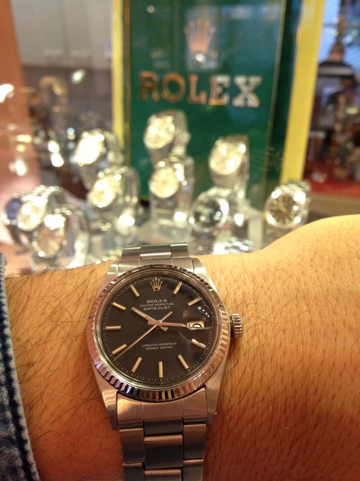 Matte black dialed Rolex Datejust, pretty rare to find a nice one like this