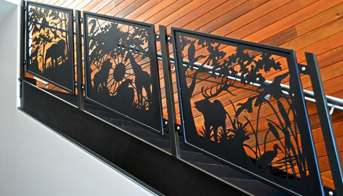 Product Photo Gallery | Go Wild! 12 Zoo Animals Depicted in these Railings | Custom Stair Railing created for the Oakland Zoo by NatureRails