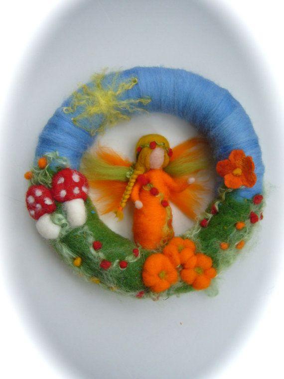 Pumpkin Fairy Wreath . Needle Felted. by FilzArts on Etsy