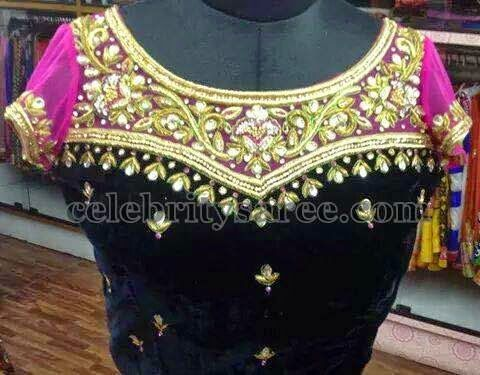 Velvet Net Blouse with Maggam Work   Saree Blouse Patterns