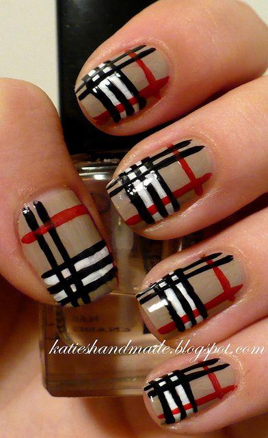 burberry nails.: Nail Polish, Nailart, Makeup, Nail Designs, Naildesign, Burberry Nails, Nail Art