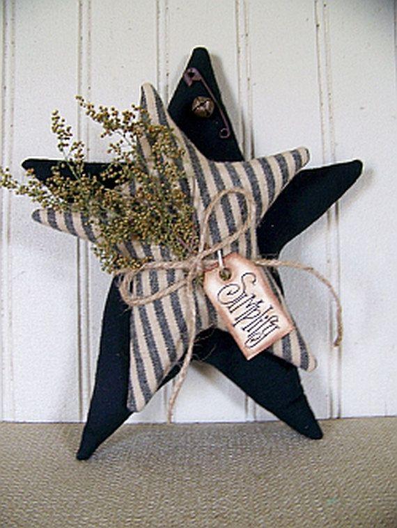 Country Primitive Black 2 Star Shelf by CherylsPrimkeepsakes, $15.99