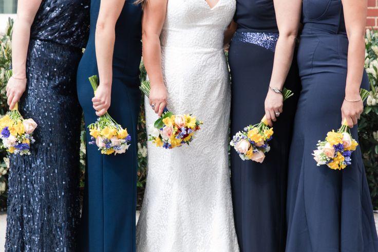 Navy Bridesmaid Dresses - A Classic George Washington Hotel Wedding - Photography by Marirosa