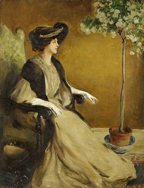 William Bruce Ellis Ranken (Scottish,1881-1941)  Mrs Patrick Campbell. Уильям Брюс Эллис Ранкен (шотландский, 1881-1941) Миссис Патрик Кэмпбелл. 威廉·布鲁斯·埃利斯·兰肯(苏格兰,1881-1941) 帕特里克·坎贝尔太太。