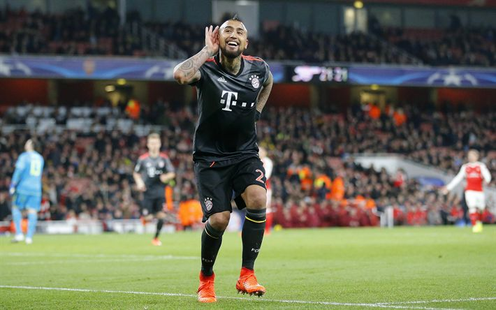 Download wallpapers 4k, Arturo Vidal, goal, Bayern Munich, Bundesliga, soccer, footballers