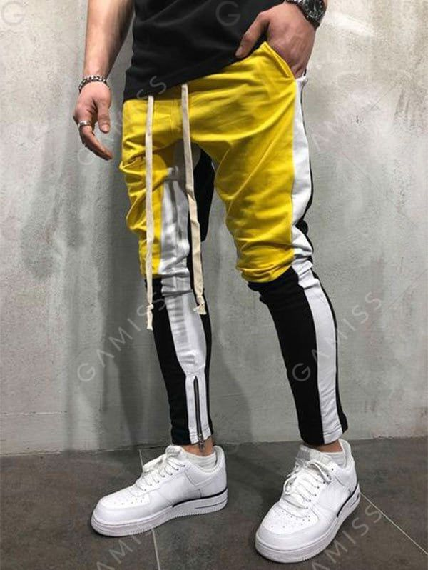 71637cbaa5 Hem Zipper Colorblock Track Pants in 2019 | Men Pants | Mens fashion ...