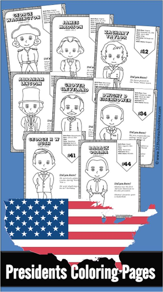 Free US Presidents for Kids - These us presidents for kids free printable include a coloring page for each of the 45 US Presidents with some interesting facts on each page. This is such a fun preschool, first grade, 2nd grade, 3rd grade, 4th grade, and kindergarten worksheet. Perfect for a US Presidents for Kids Lesson Plan for Presidents day, election day, 4th of July, history, summer learning, homeschoolers, and more!