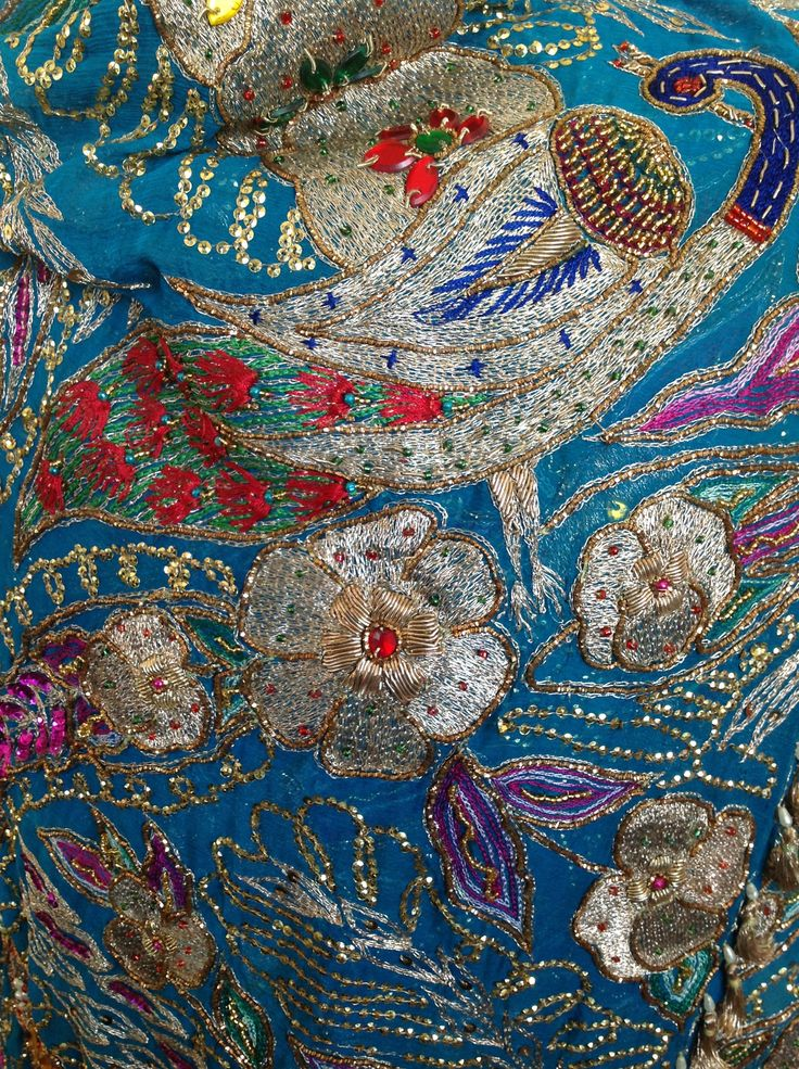 Heavily embroidered vintage shawl
