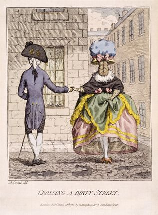 Crossing a Dirty Street : 18th century  (c 1782) --Museum of London