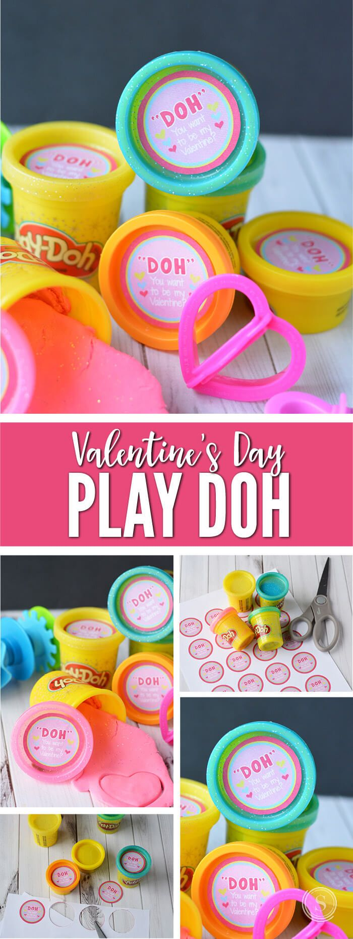 "Grab this FREE Printable ""Doh"" You Want to Be My Valentine Gift Tag and make your own Non-Candy Allergy Free Valentines for your Kids Classroom! via @Passion4Savings"
