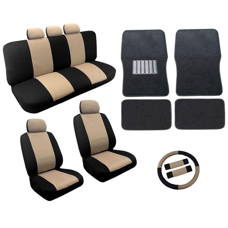 Unique Tan/Black Two Tone Car Seat Covers Black Mats Set 18pc- Chevy Cobalt (Blue) (Color)