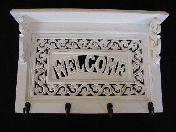Wood Scroll Carved White Distressed Welcome Sign By Picksnfinds4u 80 00 Wooden Welcome Signs Kingwood Refinishing Furniture