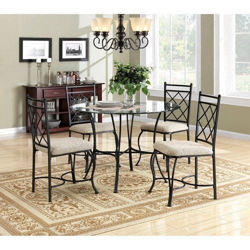Kitchen-Dinette-Set-Dining-Room-Furniture-5-Piece-Metal-Glass-Top-Table-Chairs-0
