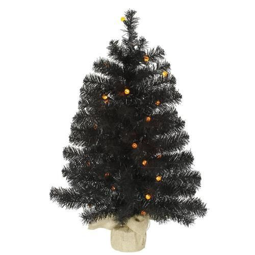 2.5' Pre-Lit Black Pine Artificial Halloween Christmas Tree - Orange LED Lights