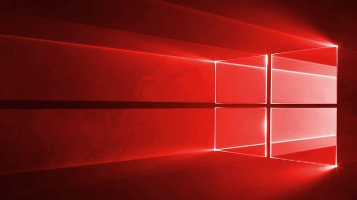 Windows 10, red logo, red background, neon Windows logo