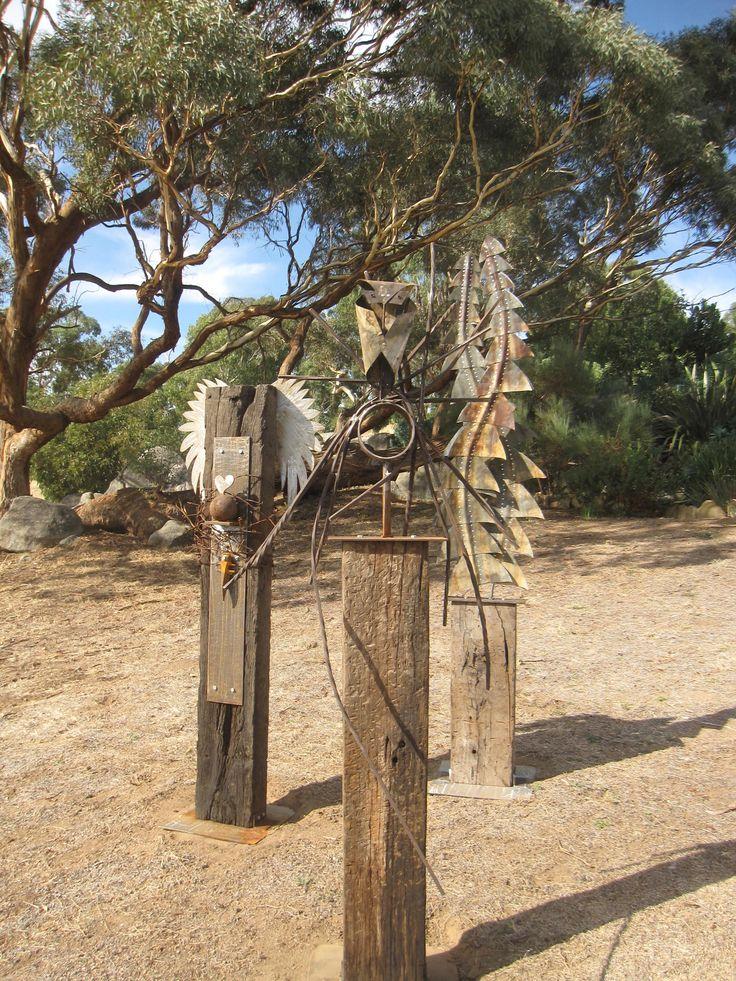 Sculpture Mica Grange Banksia Leaf, Owl Nest, Heart Wing Sleepers Darren Gilbert