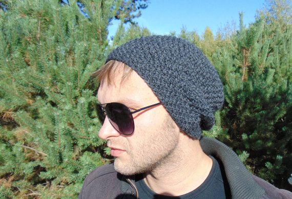 Winter Mens Hat Grey Beanie Gray Cap Wool Hat by MaddaKnits