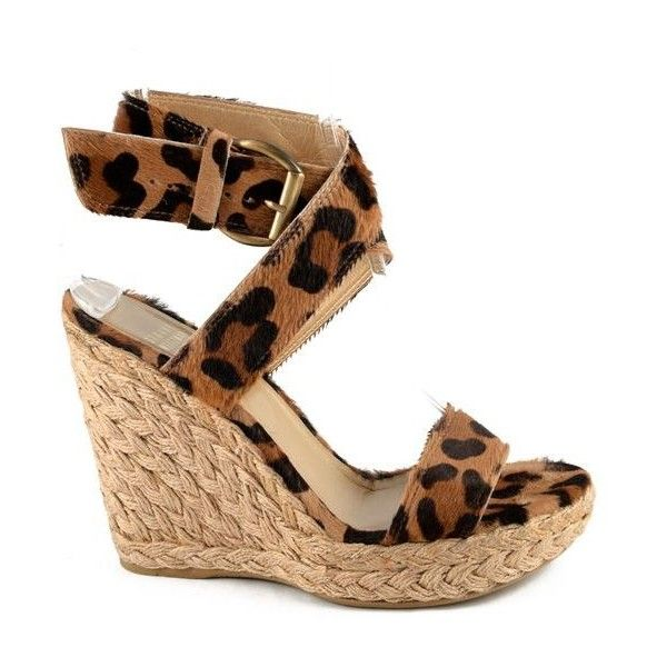 Pre-Owned Stuart Weitzman Leopard Espadrille Sandals ($120) ❤ liked on Polyvore featuring shoes, sandals, brown, wedge heel sandals, brown wedge sandals, strappy wedge sandals, open toe wedge sandals and espadrille wedge sandals