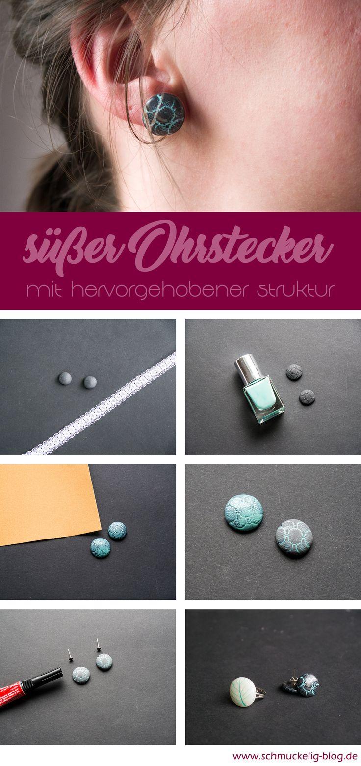 DIY Ohrstecker aus Ofenknete. Die genauere Anleitung gibt es auf meinem Blog. Bringe einfach etwas Ofeknete, deinen Lieblingsnagellack und Schmirgelpapier mit und lege direkt los!