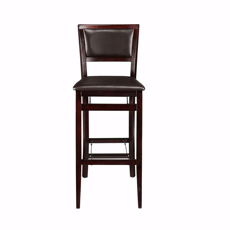 brown faux leather foldable bar stool