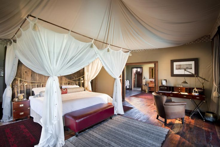 Duba Plains Camp in Botswana offers 5 bespoke tents, in addition to a separate 2 bedroom suite aptly named the Duba Plains Suite, all designed by Dereck Joubert to fit into the landscape and to take advantage of the shapes and textures of shade but also to evoke the old classic African safari style of the 1920's.