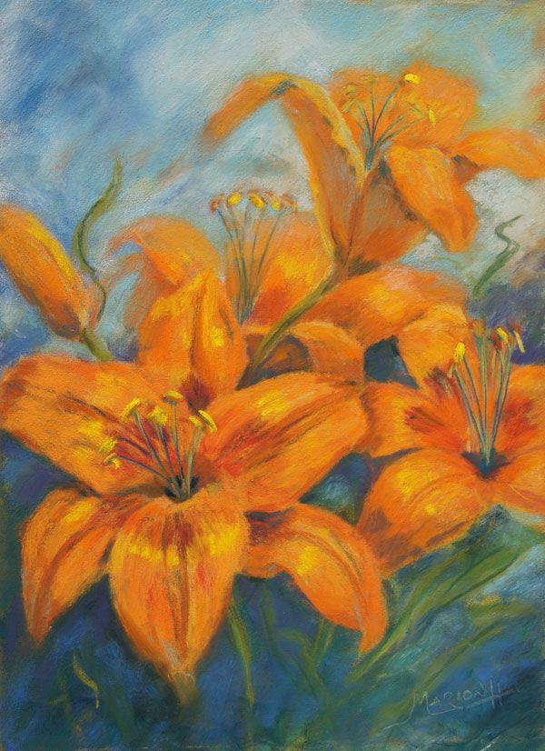 lily flower pastel artwork | Marion's Floral Art Blog: Orange Asian Lilies in Pastel - 2012 Autumn ...
