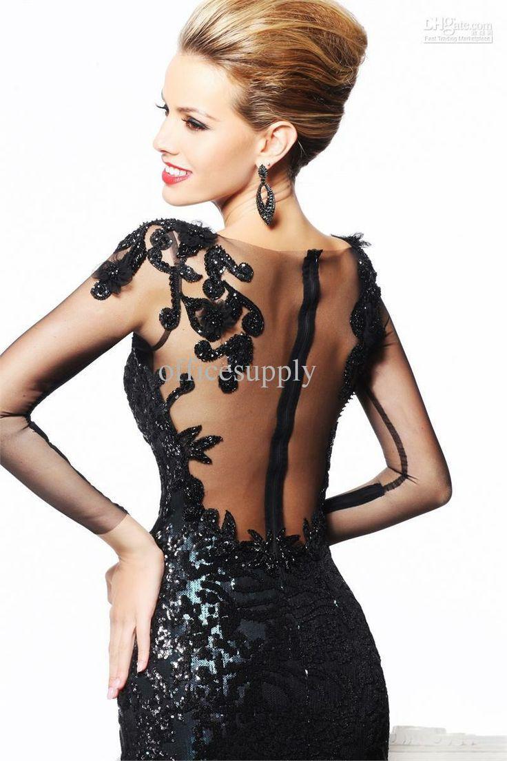 negro sexy sirena vestido de noche vestido de fiesta formal con espalda abierta y los detalles de encaje