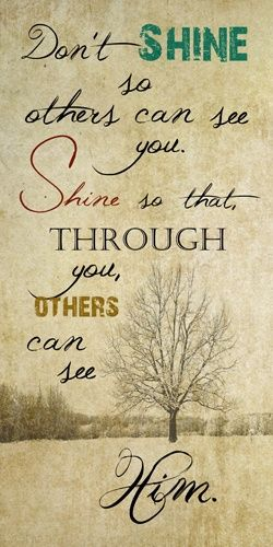 Don't shine so others can see you; shine so that through you, others can see Him.: