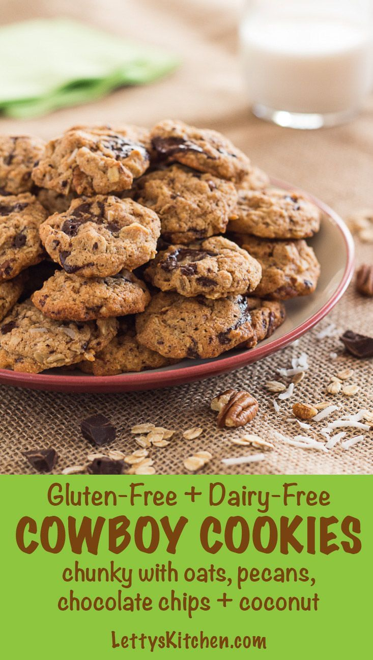 These easy delicious chunky Cowboy Cookies made with almond flour are gluten-free and dairy-free. [from LettysKitchen.com]