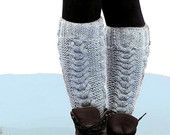 Marble Gray Boot Cuffs - Knitted Boot Cuffs - Legwarmers - Half Sock - Grey - Women - Teen Girls - Customize Your - Cable Knit Leg Warmers