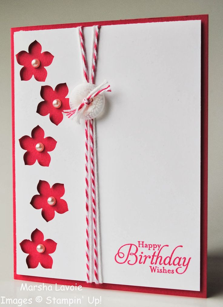 handmade birthday  card Stamping with Marsha: Petite Petals ... red and white ... main panel with column of negative space punched flowers ... like the pearl flower centers placed on the main card ...bakers twine and a button ... Stampin'Up!