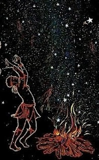 When the Pleiades appear in the east, little ones are lifted by their mothers and presented to the stars. Children are taught to stretch their hands toward the Pleiades.   * According to the Namaquas, the Pleiades were the daughters of the sky god.  When their husband (Aldebaran) shot his arrow (Orion's sword) at three zebras (Orion's belt), it fell short.  He dared not return home because he had killed no game, and he dared not retrieve his arrow:@ Star Lore of the Khoi and San
