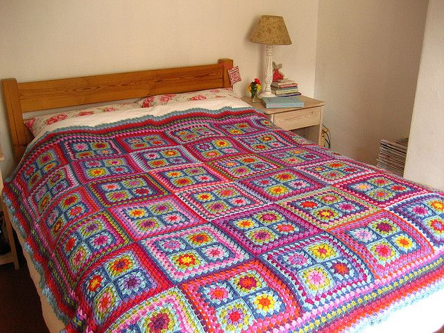 Big Bed Blanket | Flickr - Photo Sharing!Crochet Blankets, Granny Squares Blankets, Big Beds, Summer Gardens, Attic24, Crochet Afghans, Crochet Squares, Beds Blankets, Attic 24
