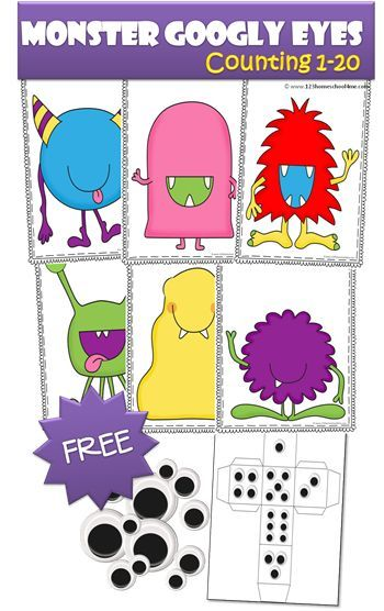 FREE Monster Googly Eyes Counting Activity for Toddler, Preschool, Prek, and Kindergarten. This is such a fun activity to help kids practice counting in a fun, silly, and wonderfully repetitive activity kids will LOVE!! SO FUN!  (preschools, math centers,