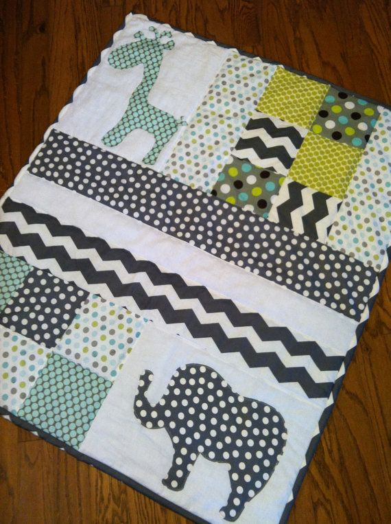 Handmade Baby Quilt with Elephant and Giraffe Applique