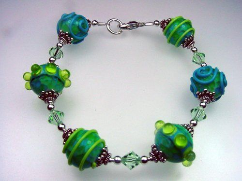 """South Beach"" Bracelet . $15.00. Swarovski crystals. Handcrafted. Lampwork glass beads"