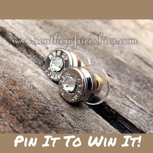 """""""Pin It, To Win It!"""" Silver Crystal Bullet Studs!! Simply Pin this photo on one of your boards in order to Win It!! All contestants must be registered as a customer on our website. #southernfriedchics #shopsfc Winner will be announced on January 17th! Good Luck!"""