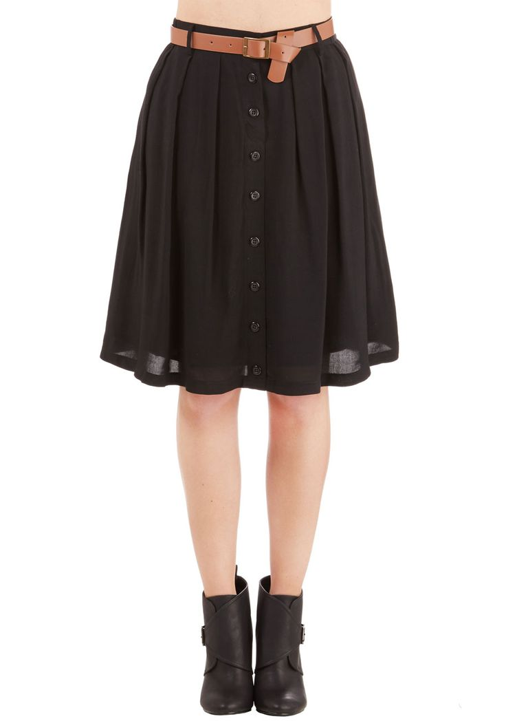 Nutmeg Latte Skirt in Licorice - Mid-length, Black, Solid, Buttons, Pleats, Belted, Work, Casual, A-line, Variation