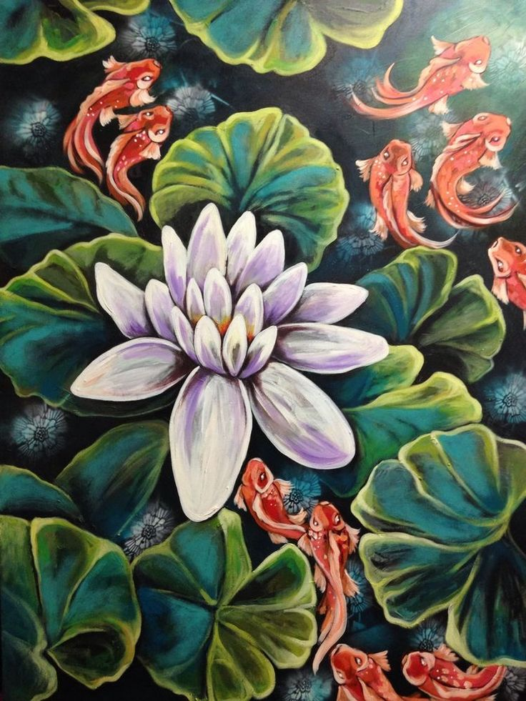 Original Large Oversize Oriental Lotus Painting By artist joJo spook