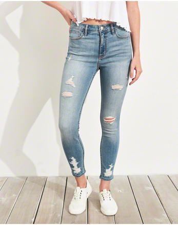 bcb45b42cad82 hol Classic Stretch High-Rise Crop Super Skinny Jeans