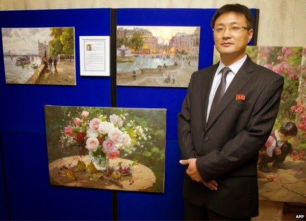 Jon Pyong Jin's maalauksia Lontoon suurlähetystössä !!!
