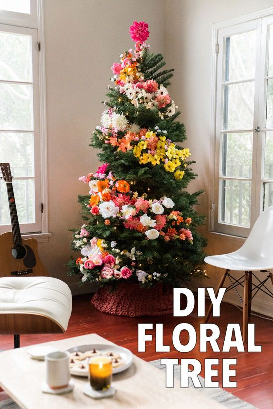 DIY FLORAL TREE - Not my favorite flowers and all, but I thought you'd like this idea because its full of flowers!  If we are ever close to each other for Christmas we should totally collect flowers and do this to our trees! It would be amazing!