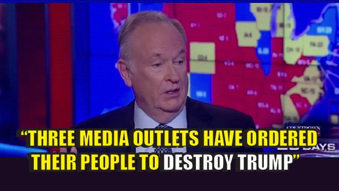 "This is war. The American media has turned on ""WE THE PEOPLE"" and we're now at war with them. They are attempting to rig an American election and they are officially TRAITORS and an enemy of we the people. Bill O'Reilly states that he knows of THREE media organizations who have ordered their people to ""DESTROY TRUMP."" They have also told their people if they ""support Trump"" their careers are over. This video is important to watch. It's also important to share. We must get the word out and…"