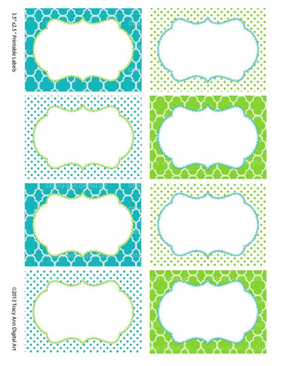 Printable Labels or Buffet Cards Blue and Green - Instant download